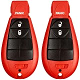 2 New Red Keyless Entry 3 Button Key Fob Remote M3N5WY783X IYZ-C01C 56046707AE For Chrysler Town Country Dodge Challenger Charger Durango Grand Caravan Journey & Ram SHELL/CASE ONLY (No Electronic)