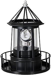 Cabilock LED Rotating Lighthouse Solar Beacon Tower Lamp Water Resistant Lighthouse Light Ornament for Garden Yard Outdoor Decor