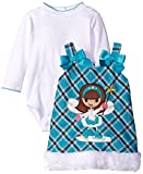 Youngland Baby Girls' 2 Piece Plaid Skater Applique Jumper and Bodysuit, Turquoise/White, 18 Months