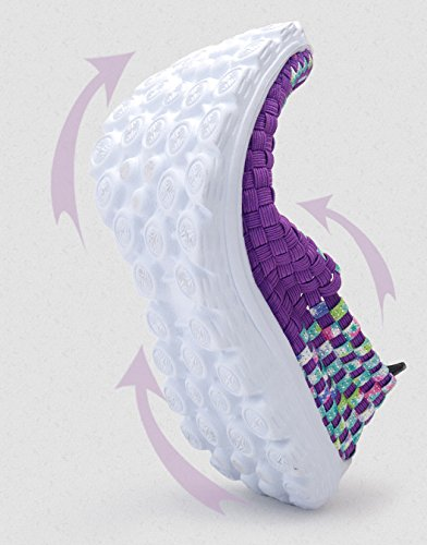 Abby Qzyyu-7799 Ademende Geweven Duurzame Wandelende Pump Voor Dames Atletische Running Sportieve Instappers Antislip Vlakke Slip Op Casual Sneakers Strakke Paars