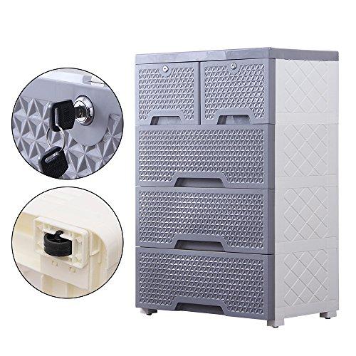 Locking Cart (Nafenai Office 3-Drawer Storage Cart with 2 Cabinets)
