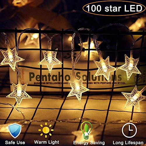 - Star String Lights 100 LED 40 FT Plug in Fairy bedroom Twinkle Lights Waterproof Extendable for Indoor Outdoor Wedding Party Christmas Tree New Year, Garden Decoration Warm White (Star String Lights)
