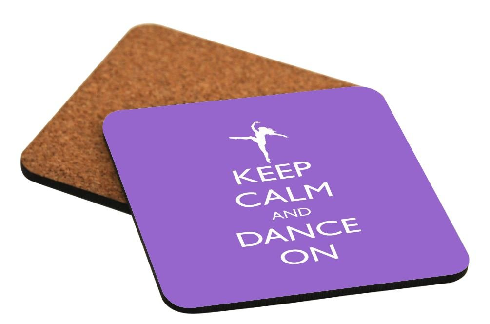 Rikki Knight Keep Calm and Dance on Violet Color Design Square Beer Coasters
