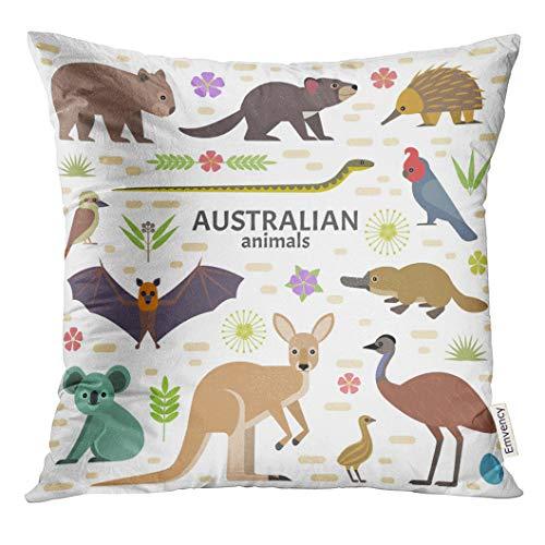 UPOOS Throw Pillow Cover Australian Animals Flying Fox Kangaroo Koala Tasmanian Devil Echidna Wombat Emu Cockatoo Platypus Decorative Pillow Case Home Decor Square 16x16 Inches Pillowcase