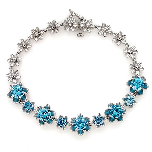 UP LINK Women's Cubic Zirconia 925 Sterling Silver Rhodium Plated Birthstone Bracelets Sea Blue by UP LINK
