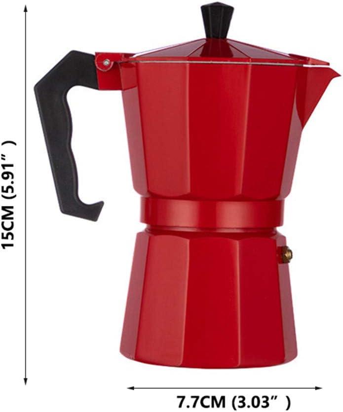 LQKYWNA Cafetera Octogonal Cafetera de café exprés Moka Mocha de Aluminio Cafetera para Oficina en el hogar de la Cocina (3 Tazas / 6 Tazas) (Red,150ml): Amazon.es: Hogar