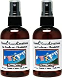Set of 2-4-oz.-Concentrated Spray Air-Freshener/Deodorizer - Scent: Clean Cotton - Great for: Cars, Offices, Closets, Air-Conditioners, Pet Beds, Yoga Mats, Litter Boxes, locker & laundry rooms, smoke odors
