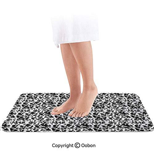 Dalmatian Dog Print Bath Mat,Black and White Puppy Spots Fur Pattern Fun Spotted Pets Animal Decor,Plush Bathroom Decor Mat with Non Slip Backing,32 X 20 Inches,White Black ()