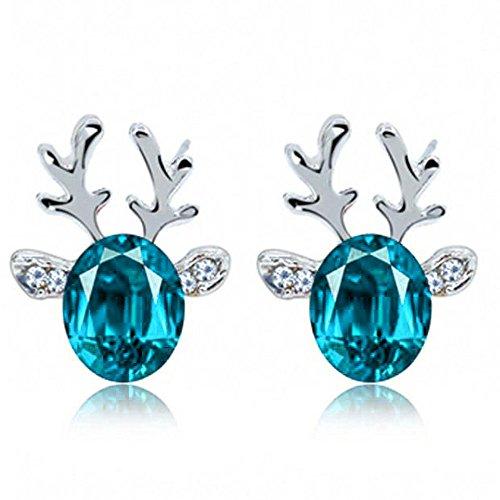 Christmas Earrings Holiday Jewelry for Womens Girls - Christmas Earrings Crystal Studs Xmas Reindeer Luxury Earing Clear Cubic Stud Hypoallergenic Cute Earrings (Light Blue)