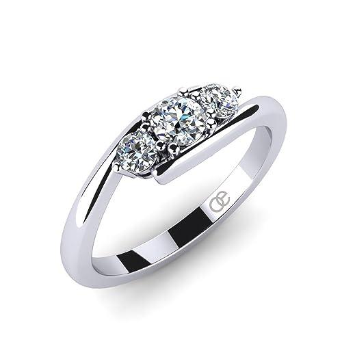 Moncoeur Damen Ring Lupine 925 Sterling Silber 3 Swarovski Zirkonia