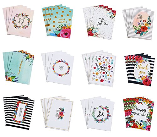 Bulk Happy Birthday & Thank You Cards Assorted 48 Piece Set - 12 Unique Watercolor Floral Designs - Blank on the Inside - Includes 48 Cards and Envelopes, 4 x 6 inches