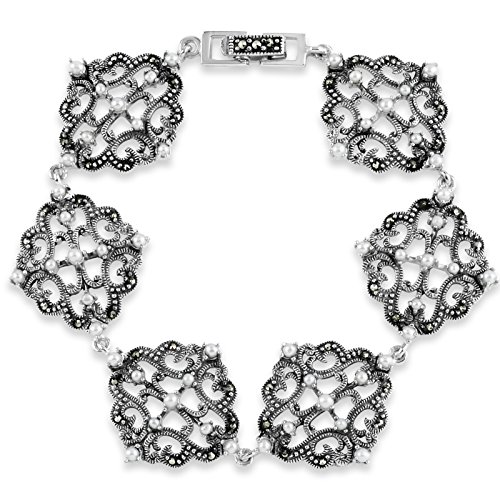 (Designs by Helen Andrews Sterling Silver Marcasite and Freshwater Pearl Bracelet 7
