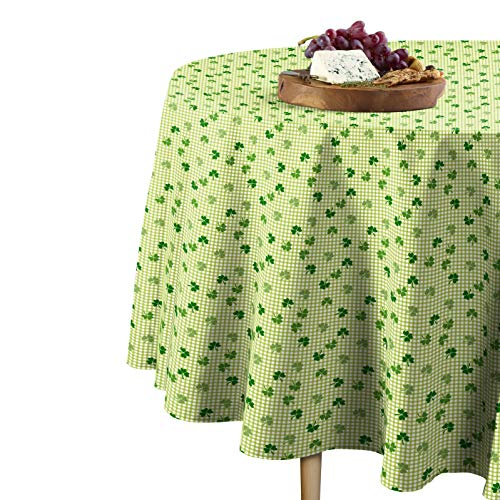 Fabric Textile Products Shamrocks Gingham Check Tablecloth 70