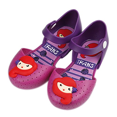 iFANS Girls Mermaid Princess Jelly Shoes Mary Jane Flats for Toddler Little Kids Purple ()