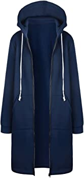 Kinlene Trench Coat Rompevientos-Mujer Sudaderas con Capucha Largas Sweatshirt Cremallera Hoodies Jersey Abrigos Chaquetas