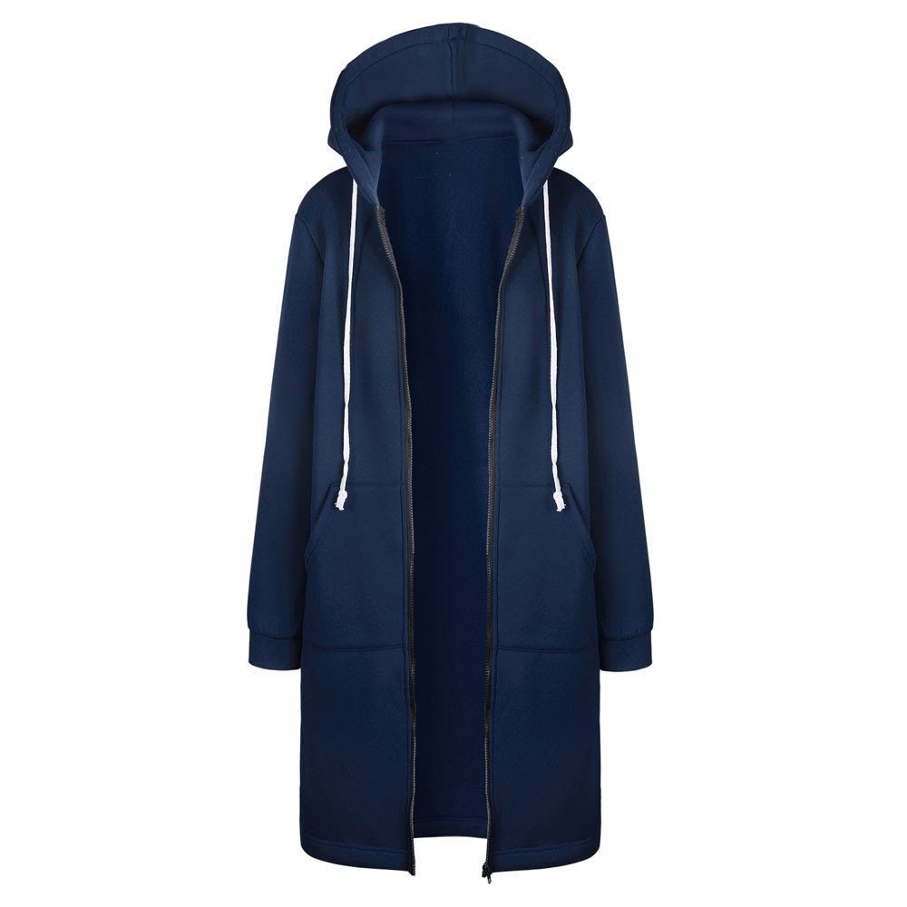 FRAUIT Herbst Winter Wollmantel Damen Strickjacke Frauen PulloverJacke Zipper Open Hoodies Sweatshirt Langer Mantel Parka Jacke