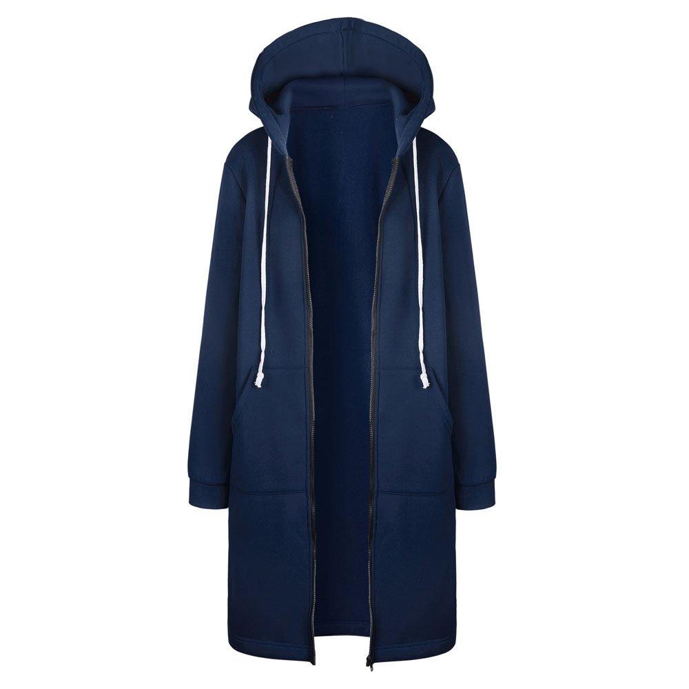 Pengy Women Winter Jacket Zipper Open Front Hoodies Sweatshirt Long Coat Outwear (L2, Blue)