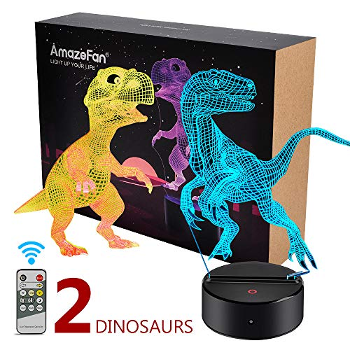 Dinosaur Night Light for Kids-3D Bedside Lamp 7 Colors Change Remote Control with 2 Acrylic Flats Best Birthday Gifts for Boys Girls Kids Baby (2 Dinosaurs)