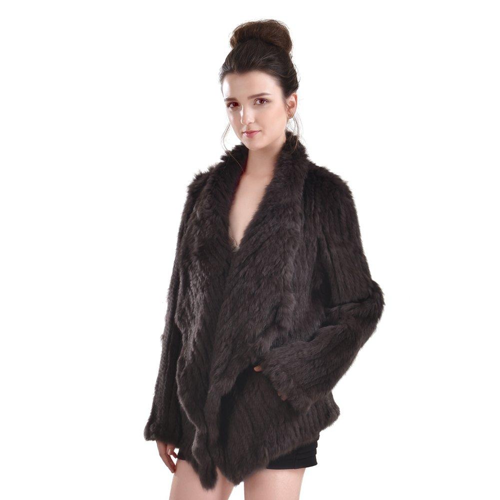Abrigo de Piel de Conejo - Chaqueta de Piel Real de Punto para Mujer de Invierno Outwear con Bolsillo (Café): Amazon.es: Ropa y accesorios