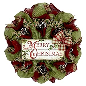 Merry Christmas Country Wreath With Real Pine Cones Handmade Deco Mesh 99