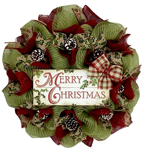 Merry Christmas Country Wreath With Real Pine Cones Handmade Deco Mesh