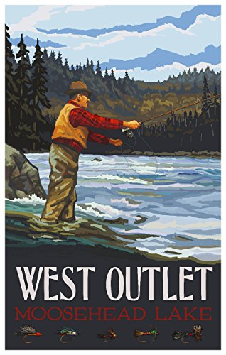 West Outlet Moosehead Lake Maine Fly Fisherman Stream Hills Travel Art Print Poster by Paul A. Lanquist (12