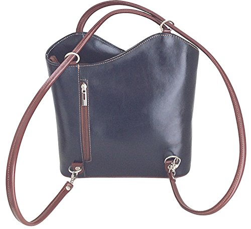 Bolso de piel italiana Handbag Bliss 2 en 1 (bolso y mochila) en dos colores con acabado suave, color rojo, talla M rojo y negro
