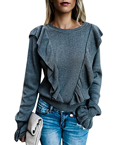 - Valphsio Women's Long Sleeve Rib Ruffle Front Sweater Crewneck Puff Shirt Pullover Cute Tops