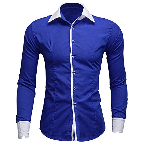 Slim Hombre Negocio down Baratas Lino Formal Caballero Business Blanca Blusa Tops Camisas Originales Button Fit Larga Manga Familizo Azul Casual Otoño BInUwx5zqS