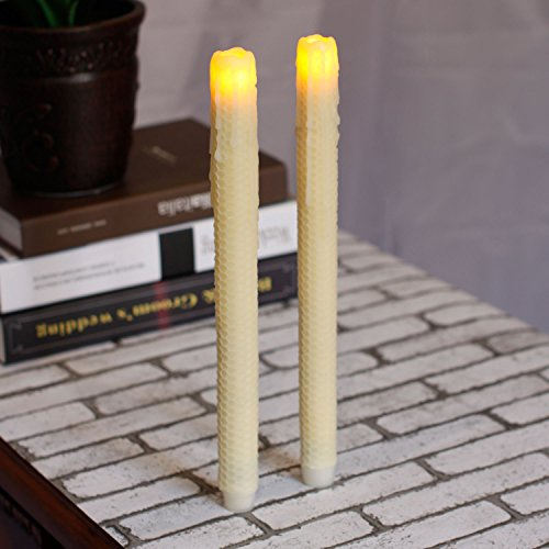 Taper Candles-Led Melted Dripping HoneyComb Flickering Flameless Candles With Timer,12 inch tall,Ivory,Pack of 2