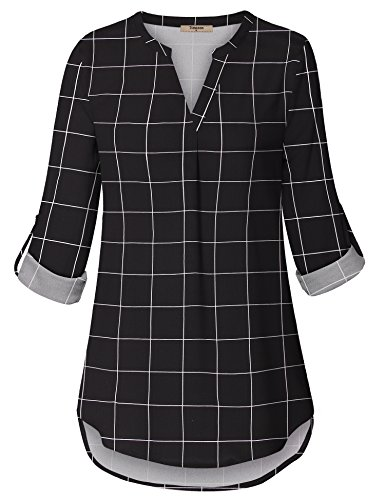 Timeson Tops for Women, Women's Casual Chiffon Blouses V Neck Cuffed Sleeve Blouse Shirt Tops for Office Work (Black White,XX-Large)