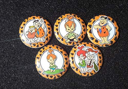 Flintstones, Pebbles, Bam Bam, Fred 1 inch Flatbacks (plastic backs) set of 5