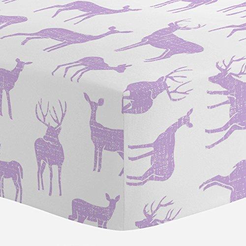 Carousel Designs Pastel Purple Deer Crib Sheet - Organic 100% Cotton Fitted Crib Sheet - Made in The USA ()