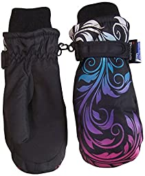 N\'Ice Caps Girls Multi Shaded Scroll Print Thinsulate And Waterproof Mitten (2-3yrs, black/silver grey/neon blue/neon purple/neon pink)