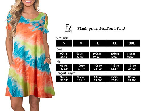 FZ FANTASTIC ZONE Women's Casual Summer T Shirt Dresses Short Sleeve Swing Dress with Pockets