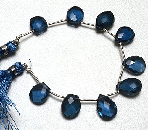 Blue Topaz Briolette Beads - JP_Beads 1 Strand Natural London Blue Topaz Color Hydro Quartz Faceted Fancy Shape Briolettes Beads 5.5