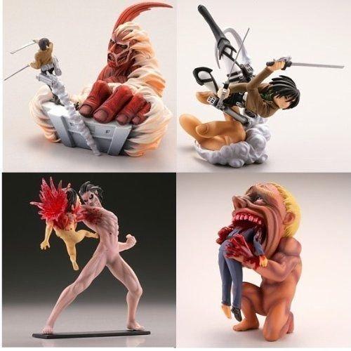 NEW 4pcs Set Attack On Titan Shingeki No Kyojin PVC Figure Eren Mikasa Kyojin Toys