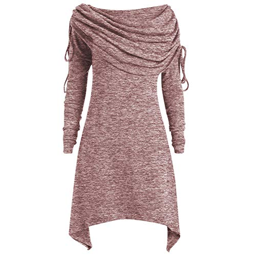 - Lisli Women Pullover Ruched Long Foldover Collar Tunic Top Plus Size Knit Dress