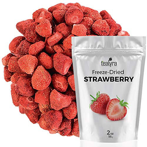 Strawberry - Freeze Dried Fruits Snacks Chunks - Non-GMO - Gluten-Free - No Sugar Added - 100% Natural and Organically Processes - Tealyra