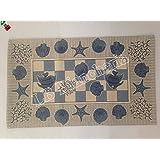 """By Suardi - Tappeto arredo Passatoia Bagno Cucina """"Marino"""" Shabby Chic Moderno in ciniglia cm 55x80 Made in Italy, BLU"""