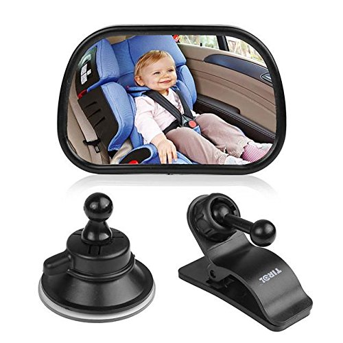 Judi Shop Baby Car Mirror for Rear Facing Car Seats – Shatterproof Adjustable Wide Angle View Back Seat Mirror for Baby, Best Rearview Newborn Infant Baby Mirror for Car To Observe Child's Every Move