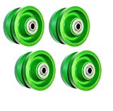 (Set of 4) Solid Green Wet Area Poly 4' x 2' V-Groove Wheel with 1/2' ID Bearing