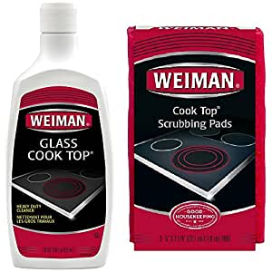 Weiman Glass Cooktop Cleaner and Polish - 20 Ounce - 3 Pads - Heavy Duty Cooktop Scrubbing Pads - Shines and Protects Glass and Ceramic Smooth Top Ranges with its Gentle Formula