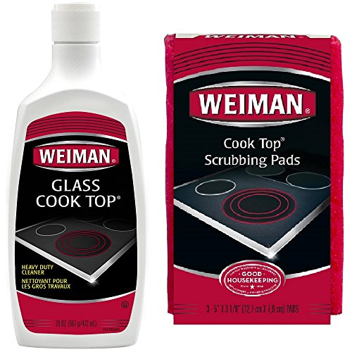 Weiman Glass Cooktop Heavy Duty Cleaner & Polish (20 Oz.) and Cooktop Scrubbing Pads (3 Pads) - Shines and Protects Glass/Ceramic Smooth Top Ranges with its Gentle - Cooktop Pads Scrub