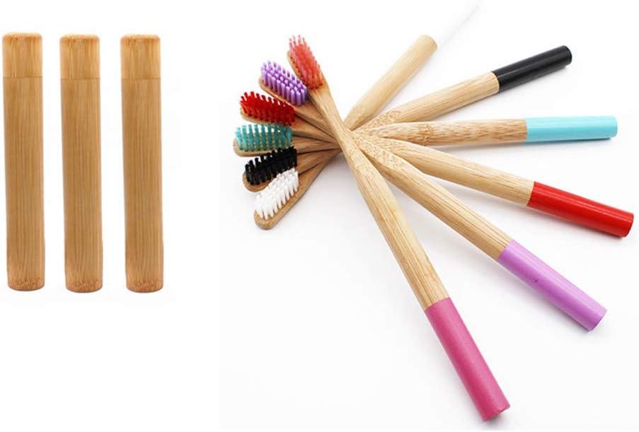 Z@SS Set de Cepillo de Dientes de bambú con Estuche de Cepillo de Dientes de Viaje, Paquete de 6 cepillos de Dientes de bambú Naturales y portacepillos de Dientes, Cepillo de Dientes