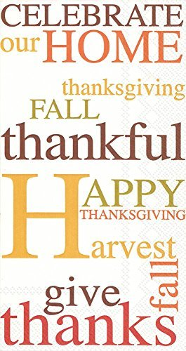 Ideal Home Range 32 Count 3-Ply Paper Guest Towel Napkins, Thanksgiving Celebrate Our -