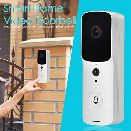 ドアベル、V10スマートWifiビデオドアベル、チャイムナイトビジョン付きIPドアホンワイヤレスホームセキュリティカメラ