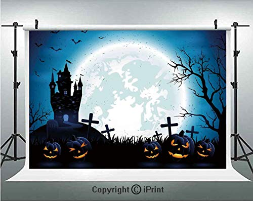 Halloween Decorations Photography Backdrops Spooky Concept with Scary Icons Old Celtic Harvest Figures in Dark Image,Birthday Party Background Customized Microfiber Photo Studio Props,10x6.5ft,Blue ()