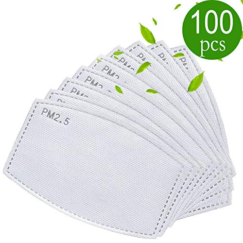 100 PCS Adult PM2.5 Activated Carbon Filter 5 Layers Replaceable Anti Haze Filter Paper