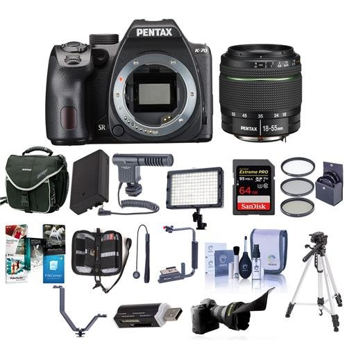 Pentax K-70 24MP Full HD DLR Camera with SMC DA 18-55mm f/3.5-5.6 AL WR Lens, Black - Bundle with 64GB SDXC Card, Camera Case, Spare Battery, Tripod, 52mm Filter Kit, Software Package and More